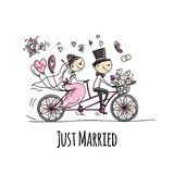 Wedding card design. Bride and groom riding on bicycle. Vector illustration royalty free illustration