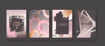 Gold, pink brochure, flyer, invitation, card. Wedding card design. Hand drawn background. Gold, pink brochure, flyer, invitation template. Business identity vector illustration