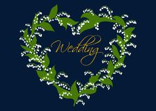 Wedding card design with lilies of the valley Royalty Free Stock Photos