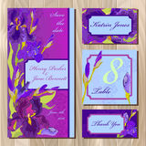 Wedding card design with purple iris flowers. Printable vector illustration Royalty Free Stock Photo