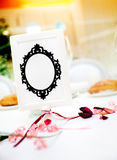 Wedding card and detail. Decoration of celebrations stock photo