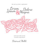 Wedding card with drawing roses in a classic retro style Stock Image