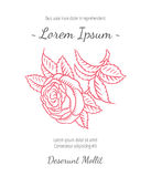 Wedding card with drawing roses in a classic retro style Stock Photos