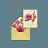 Wedding card and envelope template with watercolor carnation. Invitation card and envelope template with watercolor red carnation. Wedding card suite. Grunge Royalty Free Stock Photos
