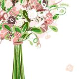 Wedding card with floral bouquet for your design royalty free illustration