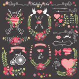 Wedding card floral  Decor toolkit .Wreath,heart,headline Royalty Free Stock Photo