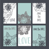 Wedding card with floral decoration. S. Six cards with different design includes flowers, leaves and inscriptions. Cards white and blue, dark gray background Stock Photo