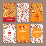 Wedding card. Floral design in six different combinations. Made in red colors Stock Images