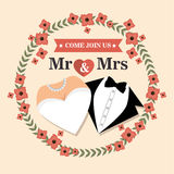 Wedding card with flower and suit and bridal gown design graphic Stock Images