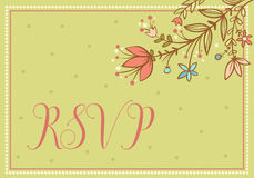 Wedding  card with flowers and the words RSVP. Royalty Free Stock Image