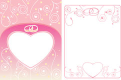 Wedding card and frame with rings Stock Images