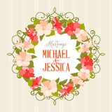 Wedding card with gibiscus flowers Royalty Free Stock Image