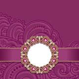 Wedding card with gold jewelry decoration Stock Images
