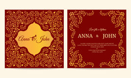 Wedding card - Gold and red creeping plant frame vintage vector template design Royalty Free Stock Photo