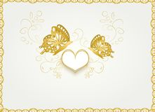 Wedding card with golden butterflies Royalty Free Stock Photo