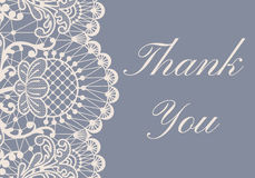 Wedding card. Wedding or greeting card with white lace border on gray background with text Thank You Royalty Free Stock Images