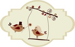Wedding card; groom bird giving a flower Royalty Free Stock Images