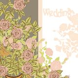 Wedding card with hand drawn roses Stock Photography
