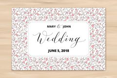 Wedding card with hearts pattern background, invitation template. Hand written custom calligraphy. royalty free stock images