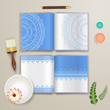 Wedding card or invitation with abstract background for wedding agency. Elegance pattern with mandala. illustration in modern mini Stock Image