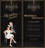 Wedding card invitation in black luxury theme. Bride and groom in cartoon style with chandelier, bride sitting on chair and pulling on groom tie with happy Royalty Free Stock Image