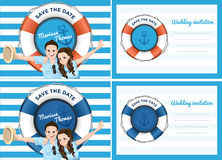 Wedding card invitation in blue sea theme. Bride and groom in cartoon style extend their arms with smiling Royalty Free Stock Image