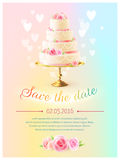 Wedding Card Invitation With Cake Realistic. Wedding announcement invitation card with event date and classical tiered cake and heart symbols realistic vector royalty free illustration