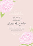 Wedding card, Invitation card ornamental with rose on pink Stock Photo