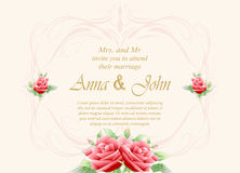 Wedding card, Invitation card with rose flower on ivory backgrou Stock Images
