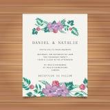 Wedding card invitation with flower decoration Stock Illustration