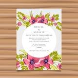 Wedding card invitation with flower decoration Royalty Free Illustration