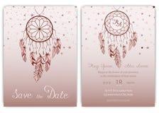 Wedding card invitation hand drawn native american dream catcher beads vector image.  royalty free illustration