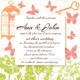 Wedding card or invitation. Herbs, flowers, butterflies, birdcage and text on the background. Greeting postcard in grunge or retro style. Valentine anniversary Stock Images