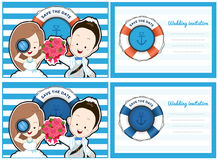 Wedding card invitation in pirate and blue sea theme. Royalty Free Stock Photos