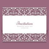 Wedding card, lace border of cutout paper swirls Stock Photos