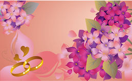 Wedding card with lilac Royalty Free Stock Images