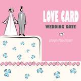 Wedding card love weddings icons. Wedding card, love, congratilations logo. Vector weddings icons with cake and couple vector illustration