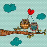 Wedding card lovely owls background Stock Photos