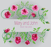 Wedding card. Mary and John. Pink roses decorate. The wedding invitation. Vector image vector illustration