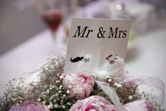 Wedding card Mr and Mrs Stock Photo