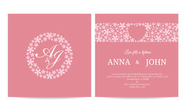 Wedding card - name text in flower circle frame and heart in flower line on pink background vector template design Royalty Free Stock Photo