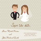 Wedding  card with newly wed couple. Save the date card with bride and groom Royalty Free Stock Photo