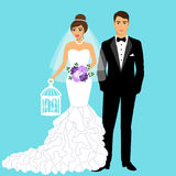 Wedding card with the newlyweds. Bride and groom. Couple. Wedding card with the newlyweds.Tuxedo and dress. Isolated objects. Vector illustration Royalty Free Stock Photos