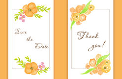Wedding card with peach peonies . Watercolor painted  card Stock Photography