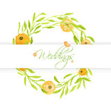 Wedding card with peach peonies wreath and cute bird. Watercolor painted  card Royalty Free Stock Photography
