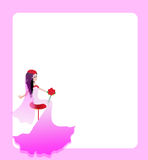 Wedding card. Pink wedding card with bride stock illustration