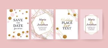 Pink Marble and gold texture background, card. Wedding card. Pink Marble and gold texture background. Elegant stylish design stock illustration
