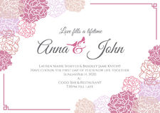 Wedding card - Pink rose floral frame vector template design Stock Images