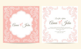 Wedding card - pink and white creeping plant frame vintage vector template design Stock Photos