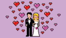 Wedding card in pixel art game style vector. Illustration vector illustration